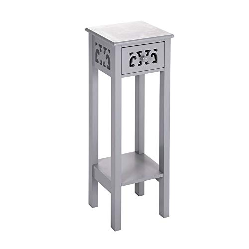 INMOZATA Telephone Table with Drawer Tall Slim Living Room End Table Side Table Corner Bedside Table Grey