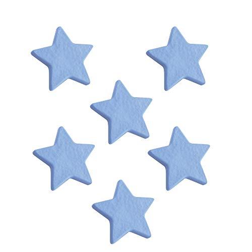 6 Un. TIRADOR Pomo Mueble Infantil ESTRELLA plástico azul celeste para habitación...