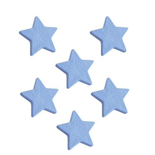 6 Un. TIRADOR Pomo Mueble Infantil ESTRELLA plástico azul celeste para habitación BEBÉ 70x67X20mm
