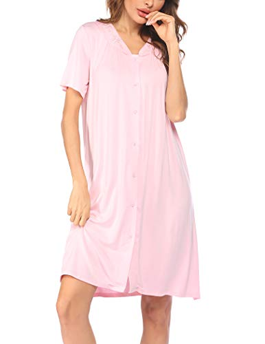 Ekouaer Nightgown Button Front Sleepshirt Short Sleeve Dusters and Housecoats V-Neck Lounger Dress for Women Pastel Pink