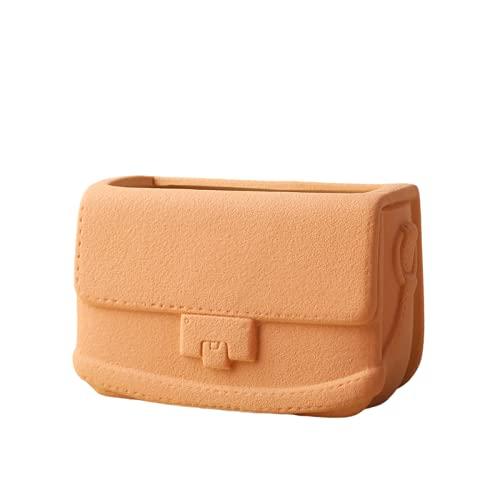 WTWE Morandi vaso di borsetta in ceramica semplice pianta idroponica ornamento di stile ragazza fresca-arancio