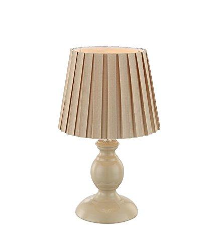Nachttischlampe mit Stoffschirm Textil-Lampenschirm Dekolampe (Nachttischleuchte, Tischleuchte, Tischlampe, Höhe 28 cm, Beige)