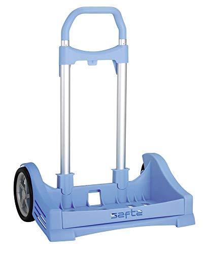 Safta 641072205 Carro Evolution para Mochilas Escolares Plegable Ligero Resistente, Azul Claro