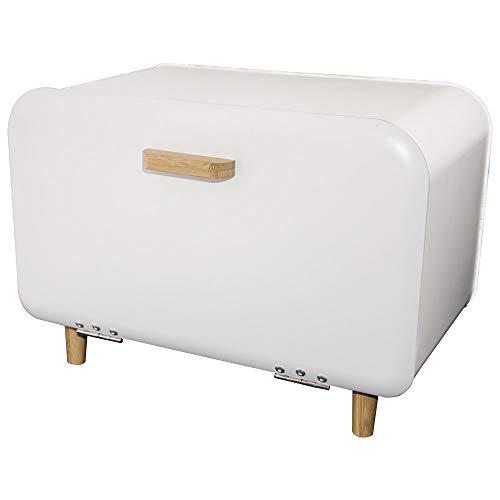 Euroserv Brotkasten im Modern Design - Geräumige Metall Brotbox | hält Brot | Metal mit Bamuszusätzen | rechteckiger Brotbehälter | 36 x 21 x 25,5 cm (White)