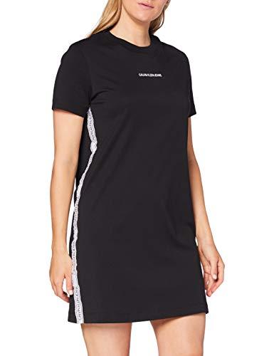 Calvin Klein Jeans Damen T-Shirt Dress with Mesh Tape Kleid, Schwarz, L