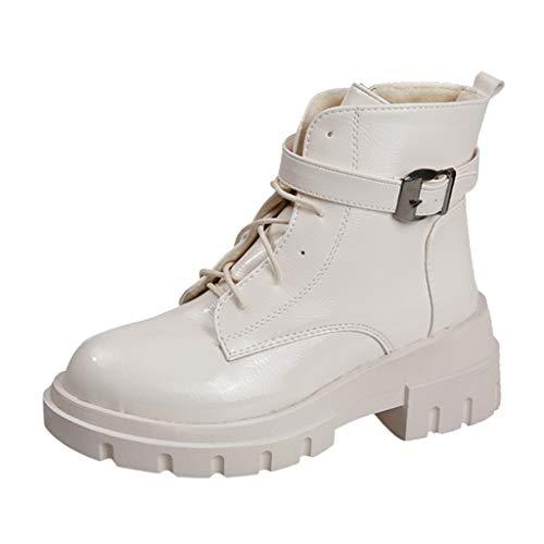 Damen Plateau Pumps Glänzende Oberfläche Stiefeletten Ankle Boots Blockabsatz Klassik Frauen Casual Dicker Absatz Knöchel Arbeit Schnalle funktionaler Schuhe Halbstiefel(Beige/Beige,35)