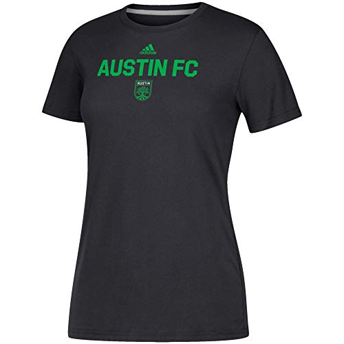 adidas Austin FC Women's Locker Stacked Team Logo Climalite T-Shirt Black (XX-Large)