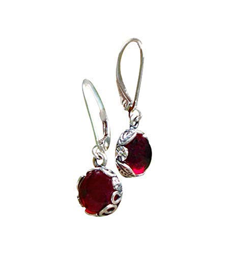 Recycled Vintage 1940's Red Beer Bottle Sterling Silver Botanical Leverback Earrings