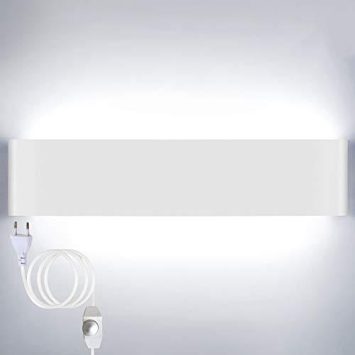 Lightess 18W 40CM Brillo Ajustable Apliques de Pared LED Lámpara de Pared Interior Luz Moderna Agradable Iluminación para Dormitorio, Escalera, Blanco, 6000K Blanco Frío, Con Interruptor
