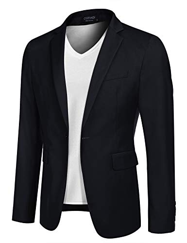 COOFANDY Mens Slim Fit Blazer Casual Sports Jacket Lightweight Sport Coat (Dark Blue XL)