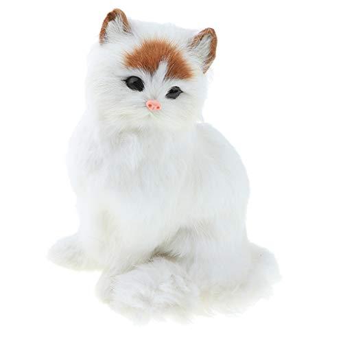 F Fityle 1pcs Realistische Plüschtier Katze, Kuscheltier Haustier Haustier Spielzeug, Haus Dekoration - Weiß
