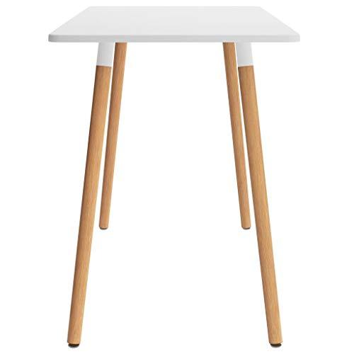 Wakects Mesa de comedor cuadrada de madera de haya, 120 x 60 x 75 cm, con 4 patas, estilo elegante