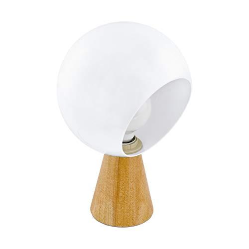 EGLO Lámpara de mesa Mamblas, 1 lámpara de mesa moderna, lámpara de noche de madera, acero y plástico, lámpara de salón en marrón, blanco, lámpara con interruptor, casquillo E27, 98278