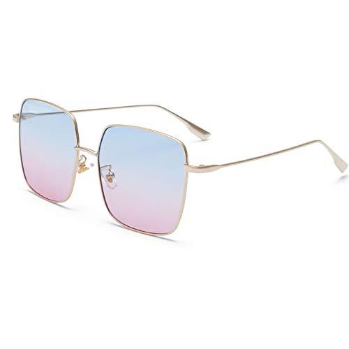 Gafas de Sol Gafas De Sol Cuadradas De Lujo para Mujer, Diseñador De Marca, Marco De Metal De Aleación Retro, Gafas De Sol Grandes, Gradiente Vintage para Hombre C5