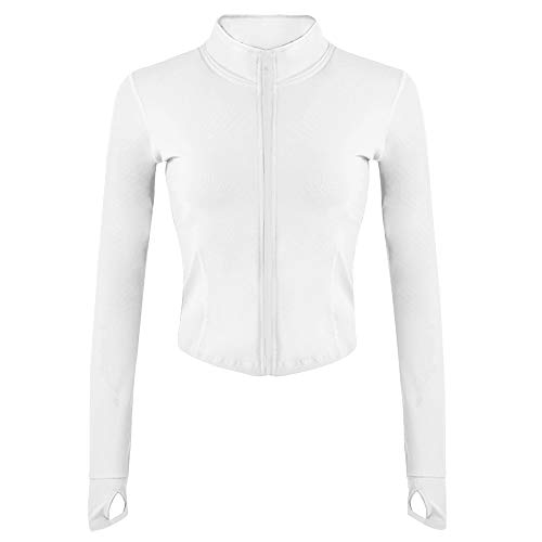 Gihuo Women's Athletic Full Zip Lightweight Workout Jacket with Thumb Holes(White-S)