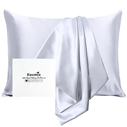 Ravmix 100% Mulberry Silk Pillowcase for Hair and Skin with Hidden Zipper, Both Sides 21Momme Real Silk Pillow Case King Size 20×36inches, 1PCS, Silver Grey