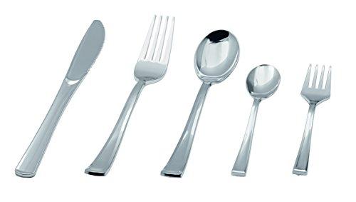 Einwegbesteck Set, Anzahl: 50 Stkück, aus Polystyrol - mit Metalloptik und in Premium-Qualität / in den Ausführungen: Messer, Gabel, Löffel, Kaffeelöffel oder Kuchengabel erhältlich (Kaffeelöffel)