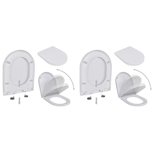vidaXL 2x Toilettensitz mit Absenkautomatik Toilettendeckel Klodeckel WC Sitz