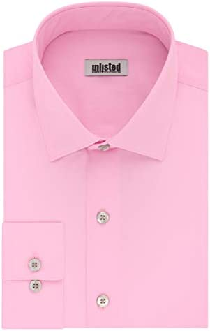 Kenneth Cole Unlisted Men s Dress Shirt Slim Fit Solid Pink 15 15 5 Neck 34 35 Sleeve product image