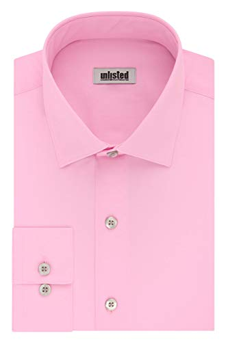 Kenneth Cole Unlisted Men's Dress Shirt Regular Fit Solid ,  Pink,  17'-17.5' Neck 34'-35' Sleeve