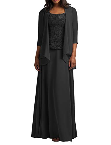 Mother of The Bride Dresses with Jacket Long Formal Evening Gowns Chiffon Plus Size Lace Prom Dress for Party Black US 28W