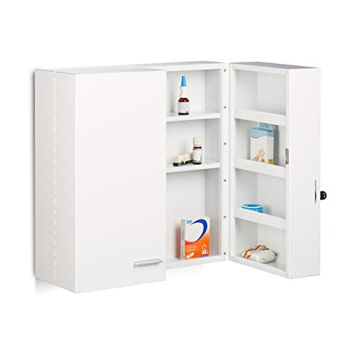 Relaxdays Medikamentenschrank XXL Premium Abschließbar 2-Türig, 11 Fächer HxBxT 53 x 53 x 20 cm Medizinschrank, weiß