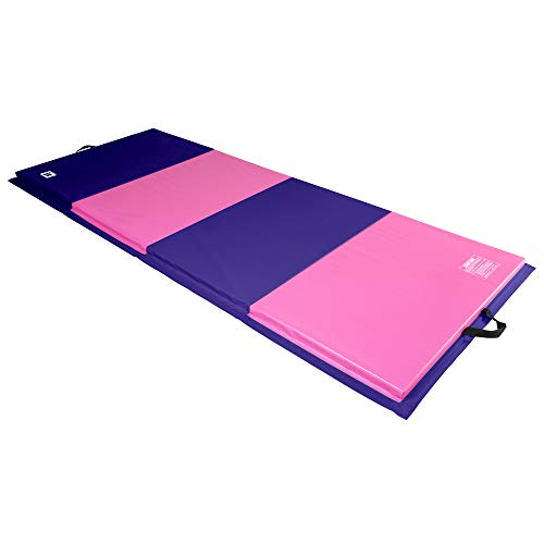 We Sell Mats 4 ft x 10 ft x 2 in Personal Fitness & Exercise Mat, Lightweight and Folds for Carrying, Purple / Pink