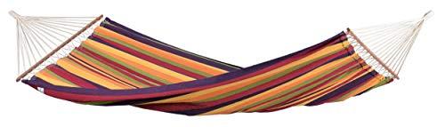 AMAZONAS Stabhängematte XL Brasilia Tropical handgefertigt in Brasilien 210 x 140 cm für 1-2 Personen bis 150 kg buntgestreift