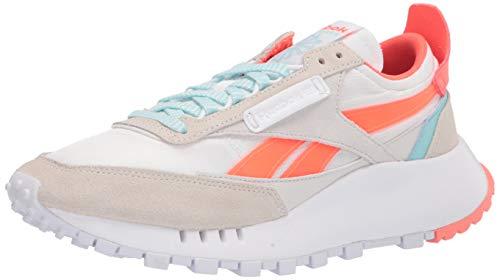 Reebok Women's Classic Legacy Sneaker, White/Orange Flare/Digital Glow