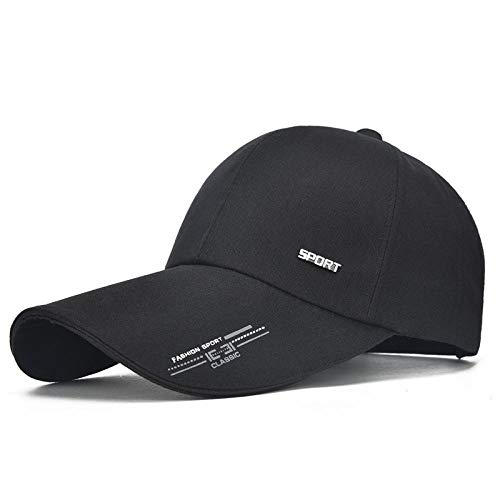 Casquette de Baseball Shade Snapback Sports Cap Mens Hat for Fish Outdoor Hat Baseball Cap Sun Dad Hat Bone 54-62Cm Black