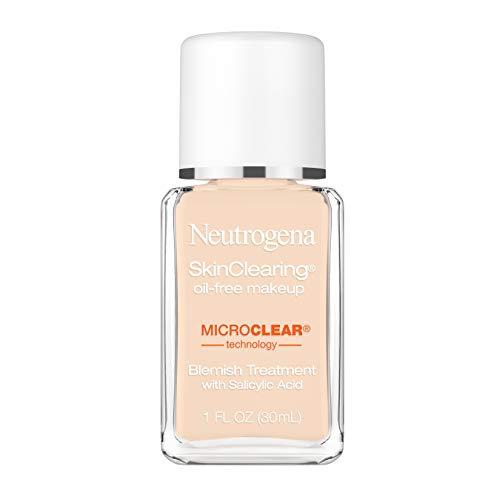 Neutrogena SkinClearing Oil-Free Acne and Blemish Fighting Liquid Foundation with Salicylic Acid Acne Medicine, Shine Controlling, for Acne Prone Skin, 10 Classic Ivory, 1 fl. oz