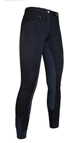HKM Vollbesatz Reithose Wülfer X mit elastischen Beinabschluss für Damen, schwarz mit gauen Besatz, Größe: 38