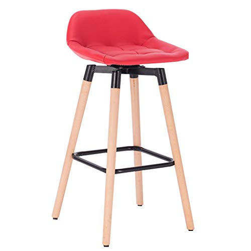 SOAR Bar Stools Bar Chairs breakfast bar table Solid Wood High Bar Pine Stool,Breakfast Kitchen Counter Bar Stool Linen Seat Bar Chair Wood Legs Barstool Stool And Washable Cushion (Color : Red)