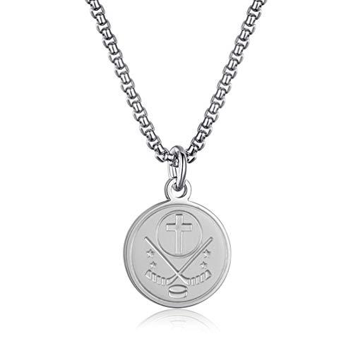 Sping Jewelry Ballspiele und Wettbewerbe Medaille Anhänger Halskette Silber Baseball Fußball Basketball Eishockey Sport
