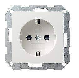 GIRA System 55 Standard E2, Reinweiß glänzend, Steckdose Schalter Rahmen Wippe (045303 Steckdose mit Kinderschutz, 1 Stück)