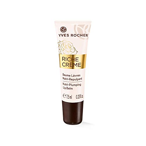 Yves Rocher RICHE CRÈME aufpolsternde Lippenpflege, Intensiv-Lippenbalsam für zarte Lippen, nährt & glättet, 1 x Tube 7,5 ml