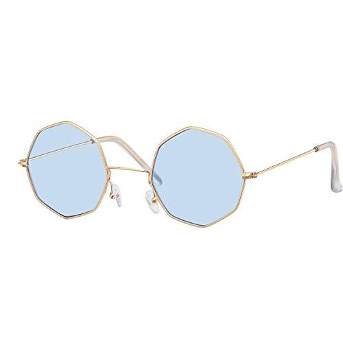 DEALBUHK Hexagon - Gafas de sol cuadradas pequeñas para mujer, marco de metal, diseño de moda, lentes de moda, color dorado y azul