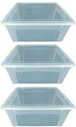 Novaliv 3X Aufbewahrungsboxen 16l 40x34x17 Stapelbox Plastikbox transparent Kunststoffbox Groß Kasten mit Deckel Plastic Storage Box multibox Lagerbox 40cm