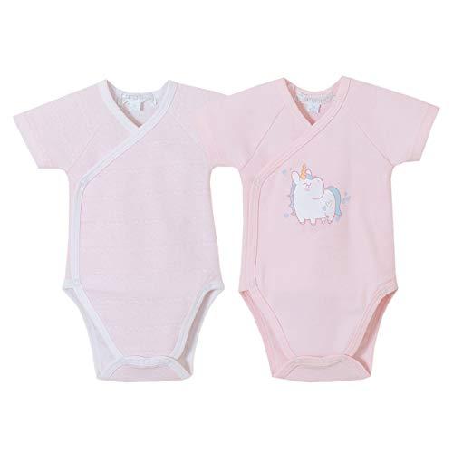 Amomí Body Bebé Cruzado Para Recién Nacido Pack de 2 Pcs Colores Lisos para personalizar 3 Meses 100% Algodon (1 Mes, 20133)