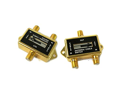 Cable TV Antenna A/B Switch Adapter Switch Converter Gold Plated / 2 - Pack Deal