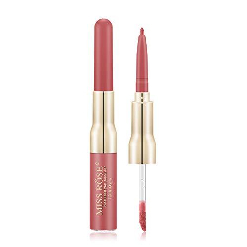 Kapian Doppelkopf Lippenstift,Lipgloss Lip Liner 12 Farbe Doppelkopf Lippenstifte Professionelle Lipliner Make-Up Schönheit Modifizierte Lip Wasserdichte Langlebige Lippenkonturenstift