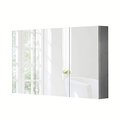 Spiegelschränke Dreitüriger Edelstahl Badezimmer LED-Lichtspiegelkasten-Wandschrank Badezimmerschrank Schränke (Color : White Light, Size : 80 * 70 * 13cm)