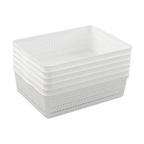 Callyne Paquete de 6 cestas de plástico para bandeja de almacenamiento de tamaño A4 / cestas organizadoras, color blanco