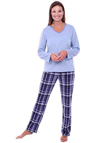 Alexander Del Rossa Women's Warm Fleece Pajamas, Long V Neck Pj Set, Large Blue Plaid (A0325Q18LG)