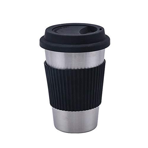 GZSC Reutilizable Taza de café Tazas de café de Acero Inoxidable con Tapas de Silicona Funda de Mangas Antideslizante Antideslizante Vasos for Beber Cerveza Agua Té Tazas de café (Color : Black)