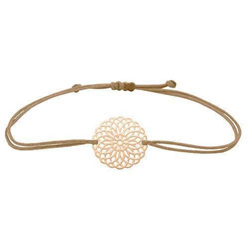 Selfmade Jewelry Armband Roségold Boho Style Armbändchen Makramee Armband - Mandala Blume Glücksarmband für Damen Frauen Mädchen Inkl. Geschenkverpackung