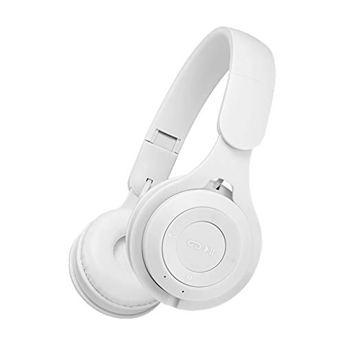 Washranp Auriculares Bluetooth con micrófono M6 inalámbrico plegable Macarons Heavy Bass Bluetooth Gaming Headset Deep Bass para viajes/trabajos/oficina en casa blanco