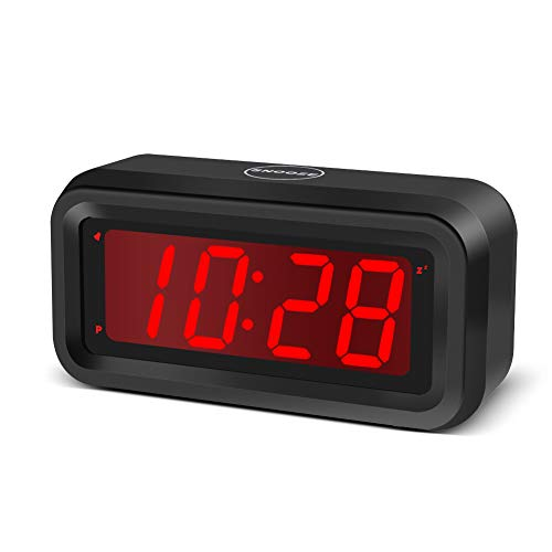 EUTUKEY Digital Alarm Clock Battery Operated Only, 4 pcs AA Batteries Keep Cordless Clock Running More Than 1 Year, 4' Red LED Jumbo Display, for Kids, Girls, Bedroom, Bedside, Desk, Shelf, Travel