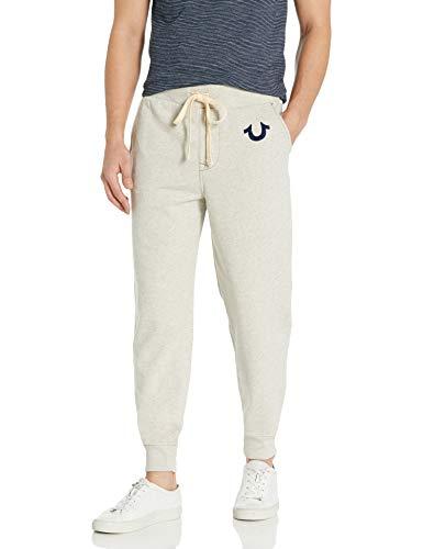 True Religion Men's Classic Logo Jogger Sweatpant, Oatmeal, L
