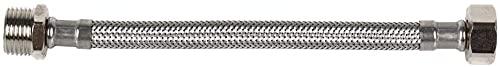 DOJA Industrial | Latiguillo de Grifo Flexible | PACK 2 | Macho/Hembra | M 3/8' - H 3/8'| 20 cm | Manguera para Grifo o Ducha de Acero Inoxidable | Flexo para lavabo, grifos, cocina